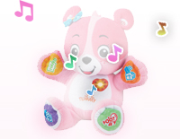 Press her paws, tummy, feet and heart to hear uniqe responses that teach cause and effect