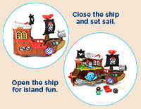 Two Ways to Play Transform the playset from a pirate ship to a deserted island to find hidden treasure.