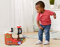 Pull Along Play Roll the ship along using the pull cord and pack the pieces inside the ship for easy storage.