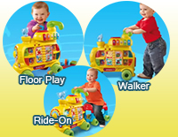 3 stages of grow-with-me play: Floor Play Mode, Walker Mode and Ride-On Mode
