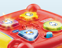 4 light-up buttons introduce animal names, animal sounds and shapes