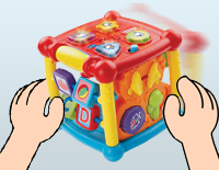 Motion sensor activates fun sounds when the activity cube is moved to attract attention