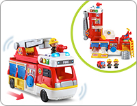 Roll the truck along with all its rescue equipment, then lift the top to transform it into a multi-level fire station with additional vehicles and activities.