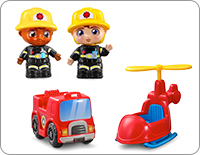 Includes two firefighter characters, Frankie and Fiona, a mini rescue vehicle and helicopter. All of the accessories store inside the truck until the next rescue mission.