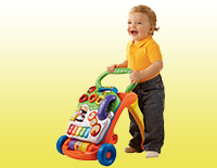 Interactive learning walker features a removable play panel