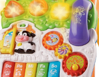 2 colorful spinning rollers, 3 shape sorters, and 3 light-up buttons develop motor skills