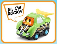 "Press the windshield button on Rocky the Race Car to learn the letter ""R"" and hear three sing-along songs and six melodies. Press the action button to move Rocky's spoiler."