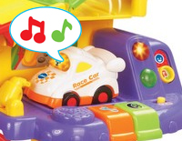 Play and music modes teach colors, vocabulary and music