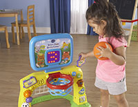 Turn the gears or press the shape buttons to introduce shapes, numbers, and playful sounds.
