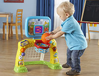 Shoot a basket or score a goal with the included basketball and soccer ball.