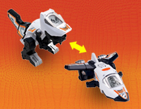 2-in-1 toy easily transforms from a dinosaur to a jet plane and back again