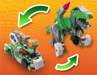 2-in-1 toy easily transforms from a dinosaur to a crane and back again