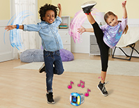Challenge a friend to a dance-off or play four games like DJ Station or Rhythm using motion-activated bands.