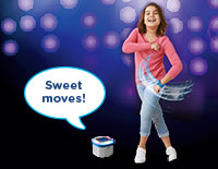 Dance and move with motion-activated bands to add 14 different effects like drum and magical fairy sounds to music.