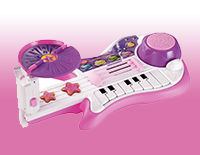 3-in-1 band includes a guitar, piano and drums