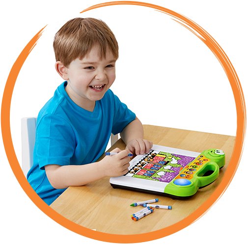 The light-up board identifies each of the 50 included coloring pages and responds with color suggestions for each section.