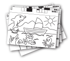 50 coloring pages and 10 blank papers included.