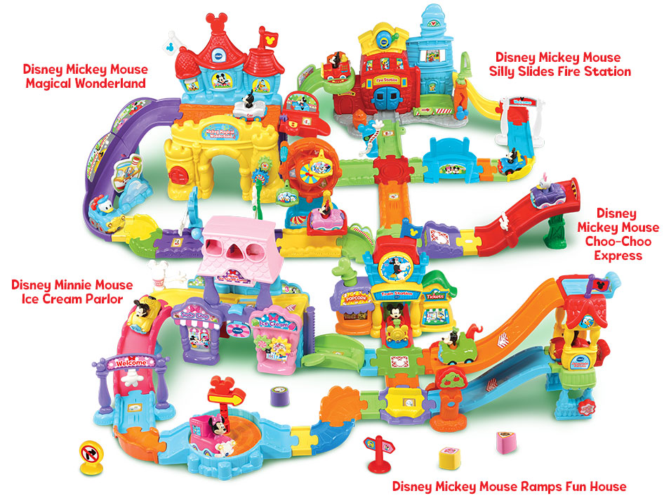 Disney Mickey Mouse Magical Wonderland, Disney Mickey Mouse Silly Slides Fire Station, Disney Minnie Mouse Ice Cream Parlor, Disney Mickey Mouse Silly Slides Fire Station, Disney Mickey Mouse Choo-Choo Express and Disney Mickey Mouse Ramps Fun House. - image