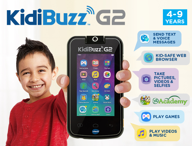 KidiBuzz™. Send Text & Voice Messages, Play Games, Play videos & music, Kid-safe web browser, Take Pictures, Videos & Selfies. LeapFrog Academy.
