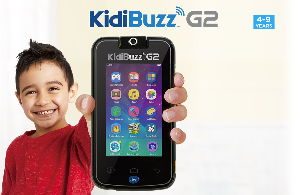 KidiBuzz<sup>™</sup>. Send Text & Voice Messages, Play Games, Play videos & music, Kid-safe web browser, Take Pictures, Videos & Selfies. LeapFrog Academy.