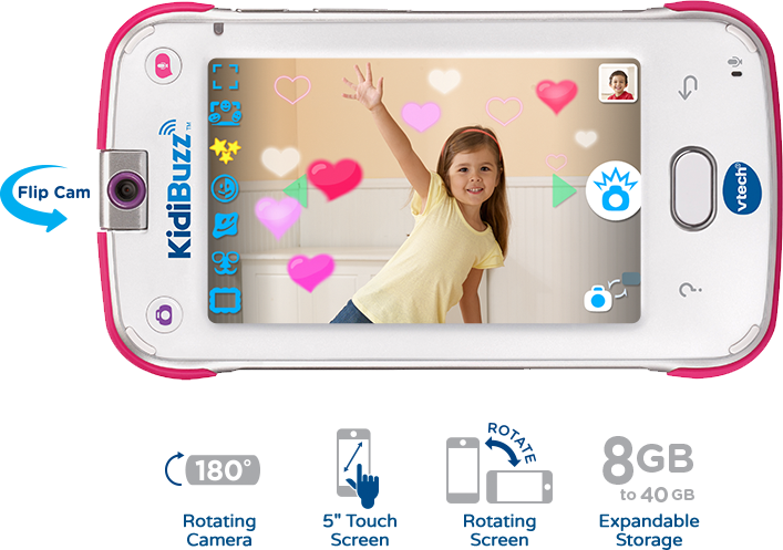 Flip Cam, 180 Degree Rotating Camera, 5-inch Touch Screen, Rotating Screen, 8GB to 40GB Expandable Storage.