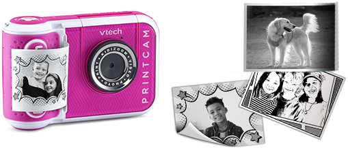 Print black and white photos and templates with the KidiZoom Print Cam, also available in pink.