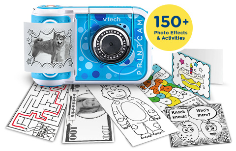 KidiZoom PrintCam includes 150+ photo effects and activities.