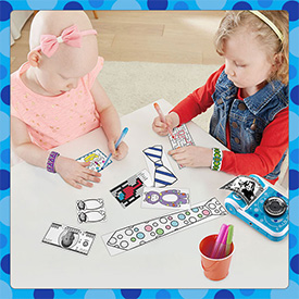 Children coloring instant prints from KidiZoom PrintCam.