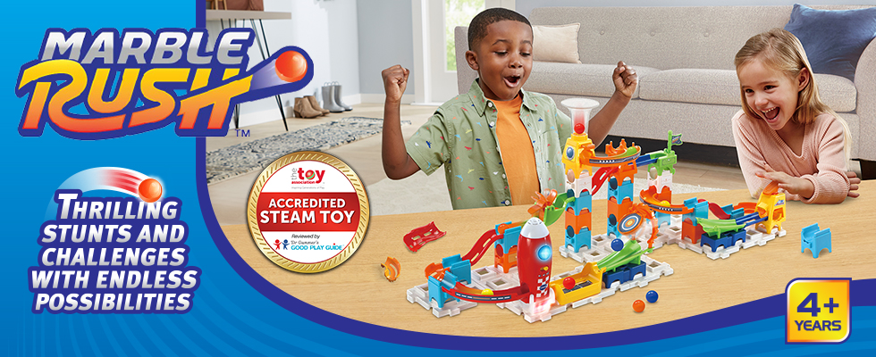 Build thrilling stunts and challenges with endless possibilities for kids ages 4 years and older.