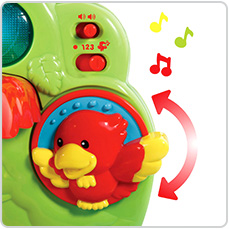 Twist the adorable red bird to hear fun sounds and music.