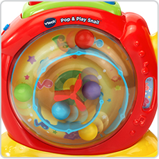 Little ones will love watching the colorful balls pop, spin and dance inside the shell.