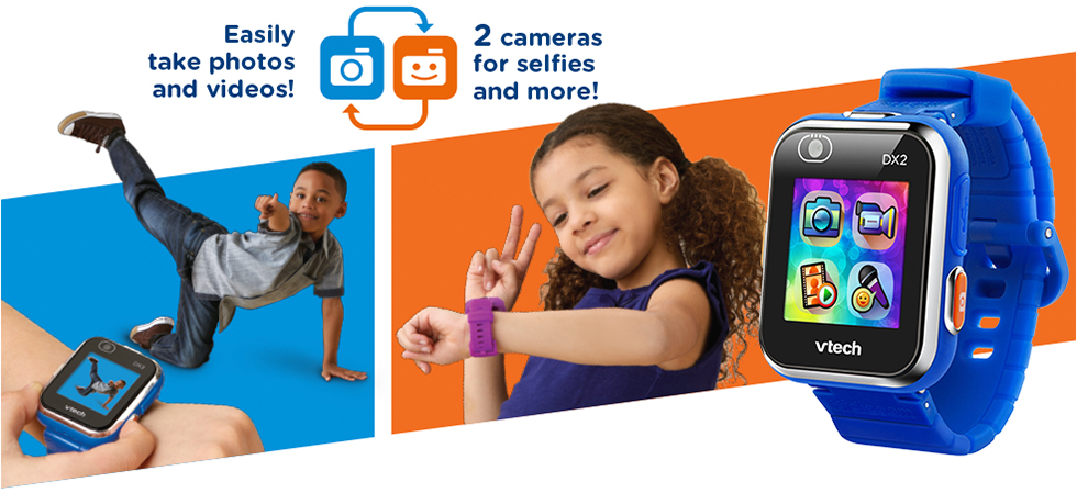 Easily take photos and videos! 2 cameras for selfies and more!