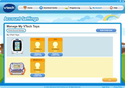 Manage My VTech Toys page
