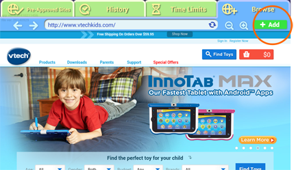 add website to your child's list
