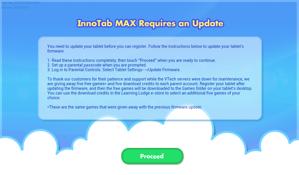 InnoTab Max Requires on Update screen capture