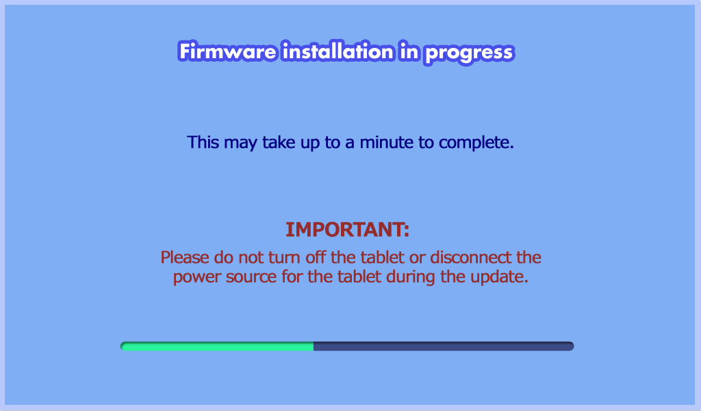 Firmware installation in progress screen capture