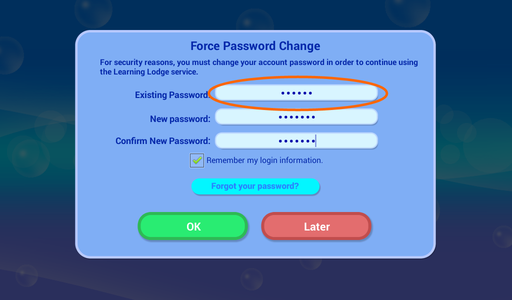 Force Password Change screen capture