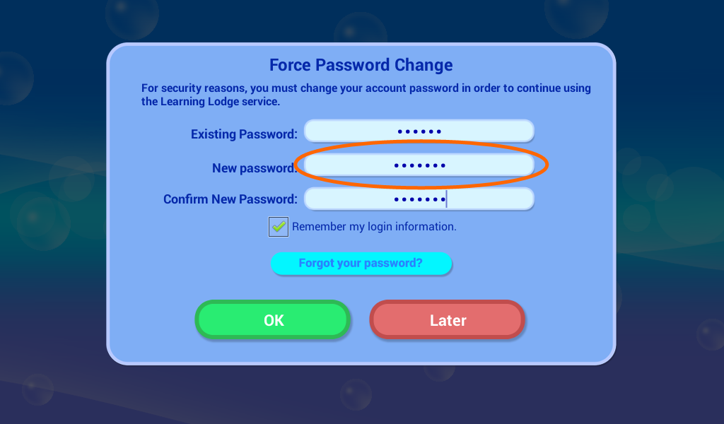 Enter a new password