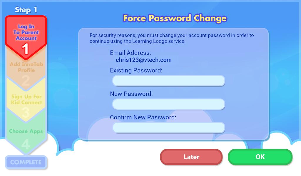 Force Password Change screen capture