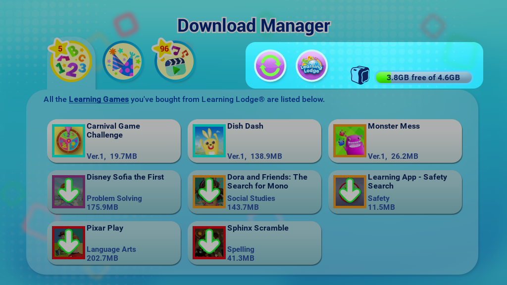Download Manager page
