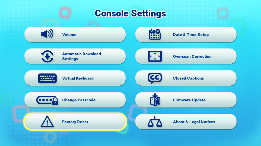 Factory Reset icon on the Console Settings menu screen capture