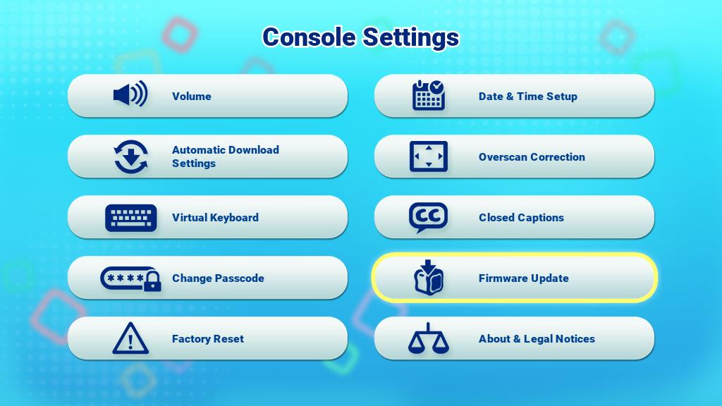 Console Settings menu screen capture
