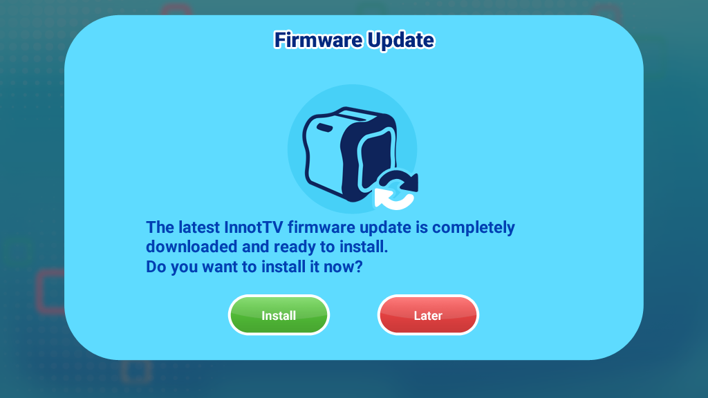 Firmware update install screen capture