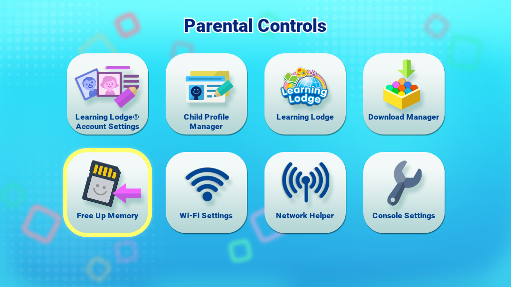 Free Up Memory icon on the Parental Controls menu screen capture
