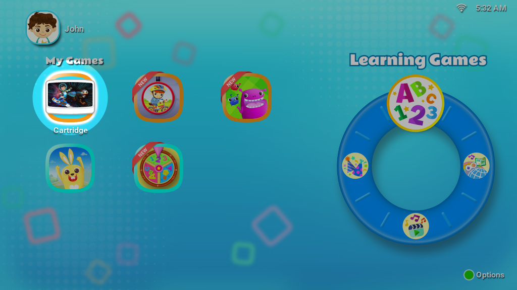New cartridge will appear under the category Learning Games on the main menu