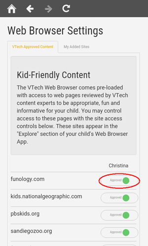 Screen: Web Browser Settings page