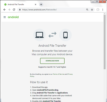 Screen: Android File Transfer Download