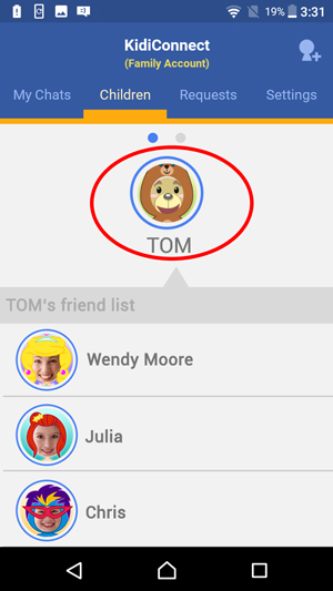 'Children' from the top menu bar of the KidiConnect™ smartphone app