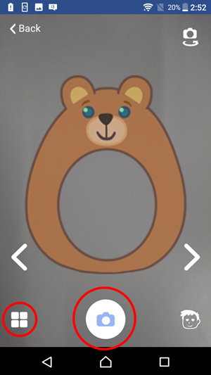 Show viewfinder screen with circles around the shutter and the album icons