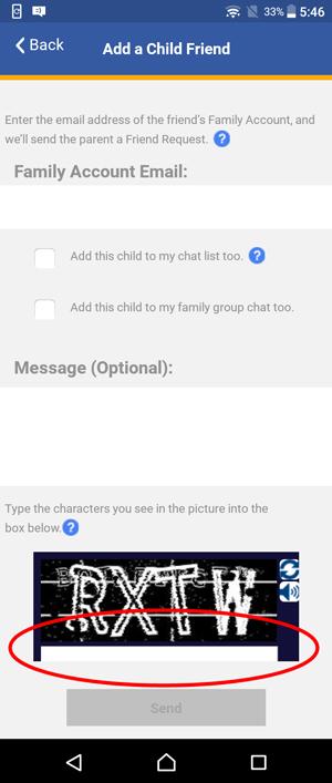 Show Add a Child Friend screen and circle Captcha field
